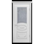 Дверь Ария Грейс-2 В3 ДО Белая эмаль (патина серебро)