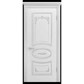 Дверь Ария Грейс-2 В3 ДГ Белая эмаль (патина серебро)