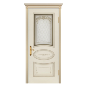 Дверь Ария Грейс В1 ДО Слоновая кость (патина золото)